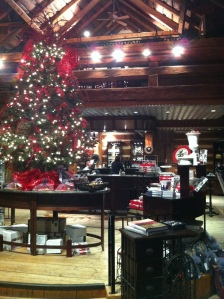 The beautiful Christmas decor inside the tasting room and wine shop