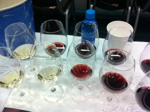 "Photo of the wines tried at the ""Excitement in a Glass"" seminar at the 2015 VIWF"